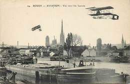 ROUEN - Aviation, Vue Vers L'île Lacroix., Péniches Et Avions. - Arken