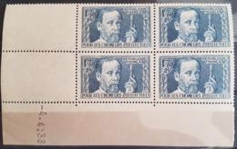 """N° 385 Cote 215 € ** (MNH). Coin Daté Du 4/4/38 """"Pour Les Chômeurs Intellectuels, Pasteur"""". Voir Description - 1930-1939"""
