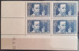 """N° 385 Cote 215 € ** (MNH). Coin Daté Du 5/4/38 """"Pour Les Chômeurs Intellectuels, Pasteur"""". TB - 1930-1939"""