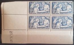 """N° 498 Cote 55 € ** (MNH). Coin Daté Du 27/1/41 """"Secours National"""". Voir Description - 1940-1949"""