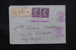 FRANCE - Enveloppe En Recommandé De Paris Pour Livry Gargan En 1926, Aff. Semeuse 35ct En Paire + Mécanique - L 58107 - 1921-1960: Période Moderne