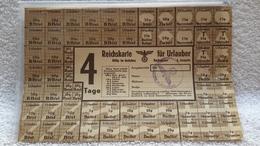 Lebensmittelmarken Reichskarte Für Urlauber Brot Zucker Marmelade Butter - 1939-45