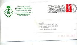Lettre Flamme Wintzenheim Vin Chateau  Entete Alsacienne - Postmark Collection (Covers)