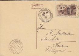 Postkarte Antwort De Sarreguemines Le 28/1/34 Sur TP De Sarre (pré-timbré) N°112 (caserne Vauban) Pour Hanweiler - Poststempel (Briefe)