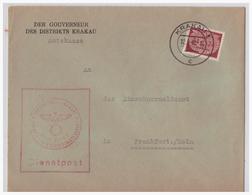 Dt- Reich WKII GG (001877) Gelaufen Durch Dienstpost Generalgouvernement Der Gouverneur Des Distrikes Krakau 1942 - Occupazione 1938 – 45