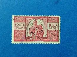 1945 ITALIA DEMOCRATICA 100 LIRE FRANCOBOLLO USATO ITALY STAMP USED - 6. 1946-.. Repubblica