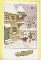 * Fantaisie - Fantasy - Fantasie * (24080-1) Bonne Année, New Year, Snow, Coccinelle, Ladybug, Amour Love, Musique - New Year