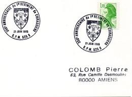 BUREAU POSTAL MILITAIRE 525 B SAINT WENDEL 350E ANNIVERSAIRE DU 1er REGIMENT DE CUIRASSIERS 1985 - Commemorative Postmarks