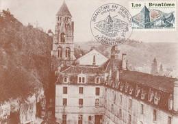 """FDC Sur CM De """"Brantôme - 24, Dordogne"""" Du 05-02-1983, """"La Venise Du Périgord"""" Abbaye, Clocher"""" - 1980-89"""