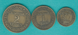 3rd Republic - 50 Centimes - 1925 (KM884) 1 & 2 Francs - 1923 (KMS 876 & KM877) - France