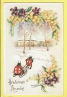 * Fantaisie - Fantasy - Fantasie * (colorprint 53219) Bonne Année, New Year, Coccinelle, Ladybug, Attelage, Fleurs, Snow - New Year