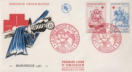 Enveloppe  FDC  1er  Jour   FRANCE   Paire  CROIX  ROUGE   MARSEILLE   1960 - 1960-1969