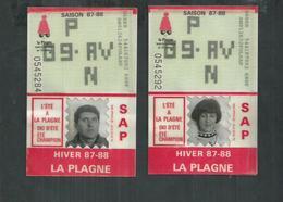 2 Forfaits De Ski Remontées Mécaniques De La Plagne (Savoie) Hiver 1987/88 - Sonstige
