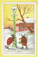 * Fantaisie - Fantasy - Fantasie * (Brunner) Bonne Année, New Year, Coccinelle, Ladybug, Police Gendarme, Rare - New Year