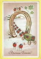 * Fantaisie - Fantasy - Fantasie * (Colorprint 3470) Bonne Année, New Year, Fer à Cheval, Coccinelle, Ladybug, Char - New Year