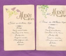 4 MENUS. DEJEUNER ET DINER. 28 AOUT 1894.  27 AOUT 1906. - Menus