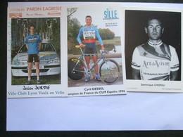Cyclisme Lot De 3 Photos De Coureurs Amateurs Francais Jurdie Dessel Chignoli - Cyclisme
