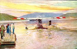Carte 1914-1916 Weltkrieg (écrite En Allemand) : Avion , Hydravion,belle Illustration Signée AK - War 1914-18