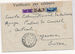1942 RODI POSTA EREA AERGTAMMA 1,25+PA 1 LIRA + 0,50 CENSURATO X LA SVIZZERA - Egeo (Rodi)