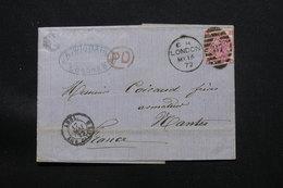 ROYAUME UNI - Lettre De Londres Pour La France En 1872, Affranchissement Victoria - L 58189 - Marcophilie