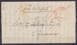 """L. Datée 10 Février 1835 De LONDON Pour BORDEAUX """"par Estafette"""" - Càd Centre Vide """"ANGLETERRE PAR CALAIS"""" - 2 Ports """"23 - Marcophilie (Lettres)"""