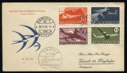 S2457 Lichtenstein Flugzeuge Auf Briefumschlag: Gebraucht Helikopter Sonderflug Vaduz - Zürich 1960 , Bedarfserhaltung - Lettres & Documents