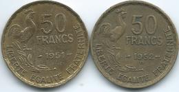 France - 50 Francs - 1951 (KM918.1) & 1952 B (KM918.2) - Francia