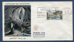 France - FDC - Premier Jour - Centenaire Des Apparitions De Lourdes - 1958 - 1950-1959