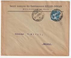 France Frankreich 1907 Yvert No 140 Seule Sur Lettre, Brief Michel 119, 3 Scans, Keller-Dorian Mulhouse 24 Juin 25 - 1906-38 Semeuse Camée