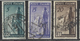 Italia - 1949 - Usato/used - ERP - Un 601/03 - Mi 774/76 - 1946-60: Used