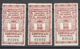 Italia - Fiscali - Sindacato Provinciale Fascista Dei Medici Di Milano - 1900-44 Vittorio Emanuele III