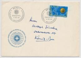 Schweiz Michel 596 / Zumstein 319 ILLUSTRIERTER Beleg Mit SS-Stempel FUSSBALL WM ENDSPIEL 4. VII. 54 - 1954 – Schweiz