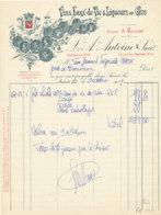 FA  1915 -  FACTURE  - VINS EAUX DE VIE & LIQUEURS EN GROS   A ANTOINE    SAINT LO   (MANCHE ) - 1900 – 1949