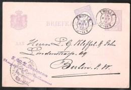 NEDERLAND Briefkaart G 23 Naar Berlin (D) Met Bijfrankering 1891 , Kleinrondstempel Zwolle - Ganzsachen