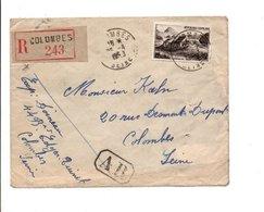 LETTRE RECOMMANDEE AR DE COLOMBES SEINE 1950 - Poststempel (Briefe)