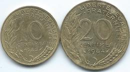France - 10 Centimes - 1983 - KM929 & 20 Centimes - 1984 - KM930 - France