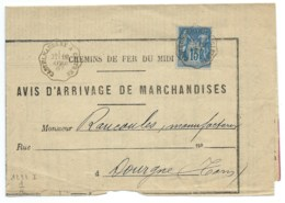 15c SAGE SUR LETTRE / CONVOYEUR  CASTELNAUDARY A CASTRES POUR DOURGNE / 1887 / CHEMIN DE FER DU MIDI - Postmark Collection (Covers)