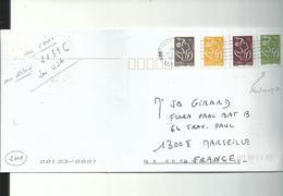Lettre Des USA Pour MARSEILLE....affranchissement Fantaisiste......a Circulé.....USA 2006........ - Variedades Y Curiosidades