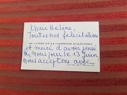 Carte De Visite Faire-part Noblesse Le Comte La Comtesse D' Albufera  Paris 7ème   Annee 66 - Cartes De Visite