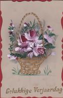 Gelukkige Verjaardag Celluloïd Peinte à La Main Goldprint Flowers Fleurs Bloemen Fantaisie Fantasiekaart Carte CPA - Ansichtskarten