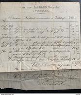60343 - Facture Gustave Jaccard Maréchal Vugelles 2.05.1871 - Suisse