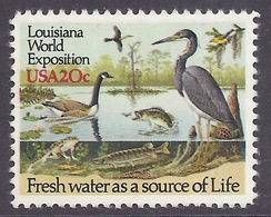 USA - 1984 Louisiana World Exposition, River Wildlife, Fresh Water, Pond Life, MNH - Ongebruikt