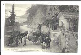 DOUANE Française - MENTON (vers 1910) - Fouille Visite Des Marchandises D'une Charette à Cheval - VENTE DIRECTE - Douane