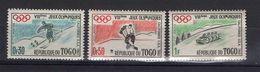 TOGO -- 1960 ---Lot De 3 Timbres NEUFS--gomme Intacte --Jeux Olympiques D'hiver SQUAW (ski,hochey,luge )........à Savoir - Togo (1960-...)
