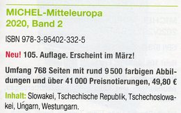MICHEL Mitteleuropa 2020 Katalog Band 2 Neu 50€ Europa Stamps Catalogue Part 2: CZ CSR Slowakei Ungarn Westungarn - Original Editions