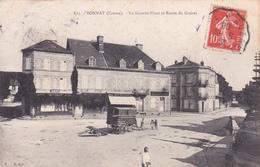 23-BONNAT- La GRANDE PLACE Et ROUTE De GUERET -Editeur N.G. -Ecrite - Timbrée- 1908 - (16/4/20) - France