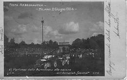 """Milano - Festa Aereonautica 2 Giugno 1904 - Partenza Delle Automobili Alla Caccia Dell'Aereostato """"Genova"""" - Milano (Mailand)"""