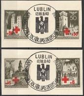 Gouvernement Général 1940 Surcharge Croix Rouge Cachet De La Poste Spécial  Lublin (G1) - 1939-44: 2. WK