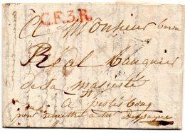 P De Paris Dans Un Triangle (faible)C.F.3.R (rouge) Sur Lettre Sans Date-Période Napoléon.Dans Le Texte L'Empereur A ... - 1801-1848: Precursori XIX