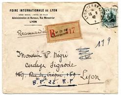 ENV ENTETE FOIRE INTERNATIONALE 5F PETAIN SEUL SUR LETTRE RECOMMANDEE RAU LYON TERREAUX F 1942 - 1921-1960: Periodo Moderno